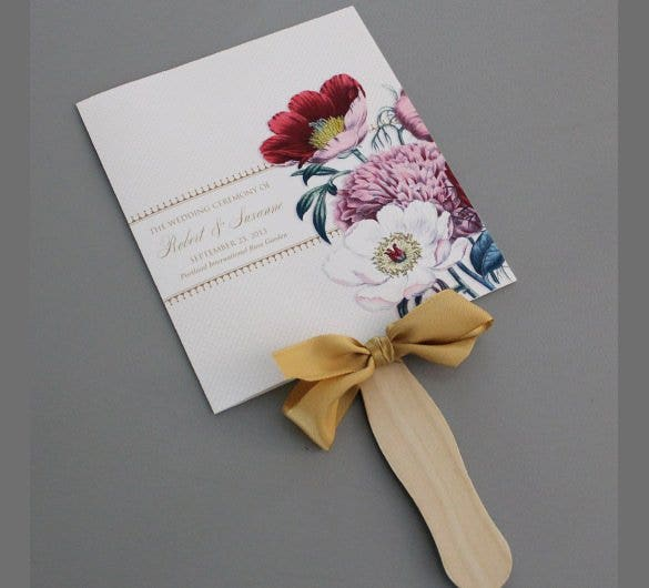 Free Flower Design Wedding Program Fan Template