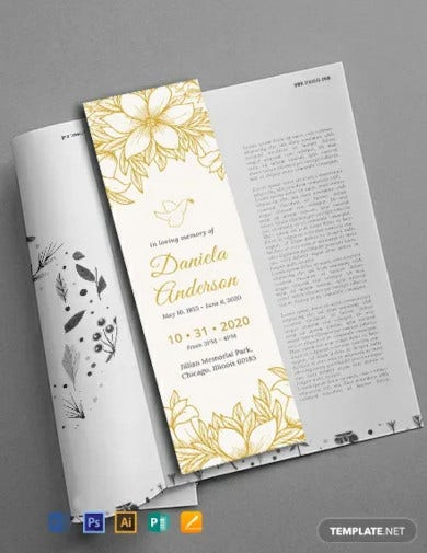 free funeral bookmark template