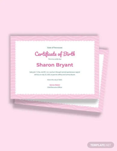 free girl birth certificate template
