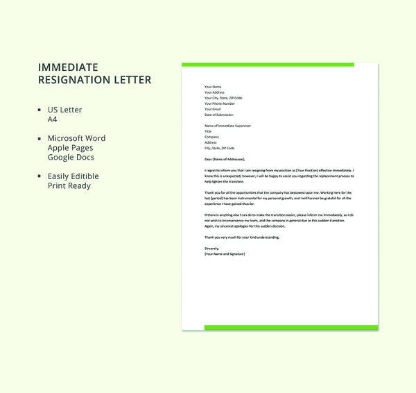 free-immediate-resignation-letter-template