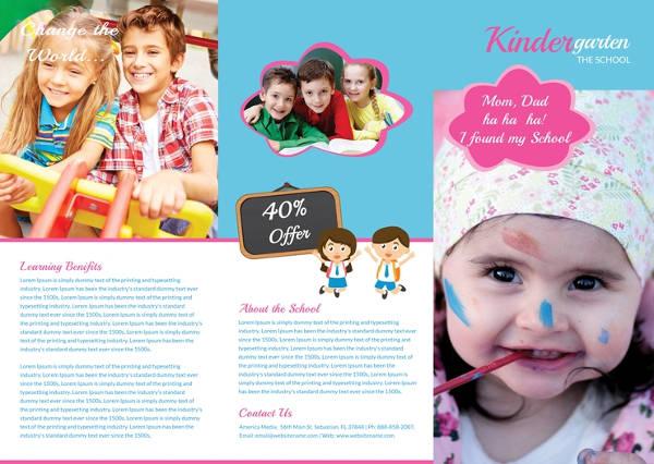 free kindergarten tri fold brochure template