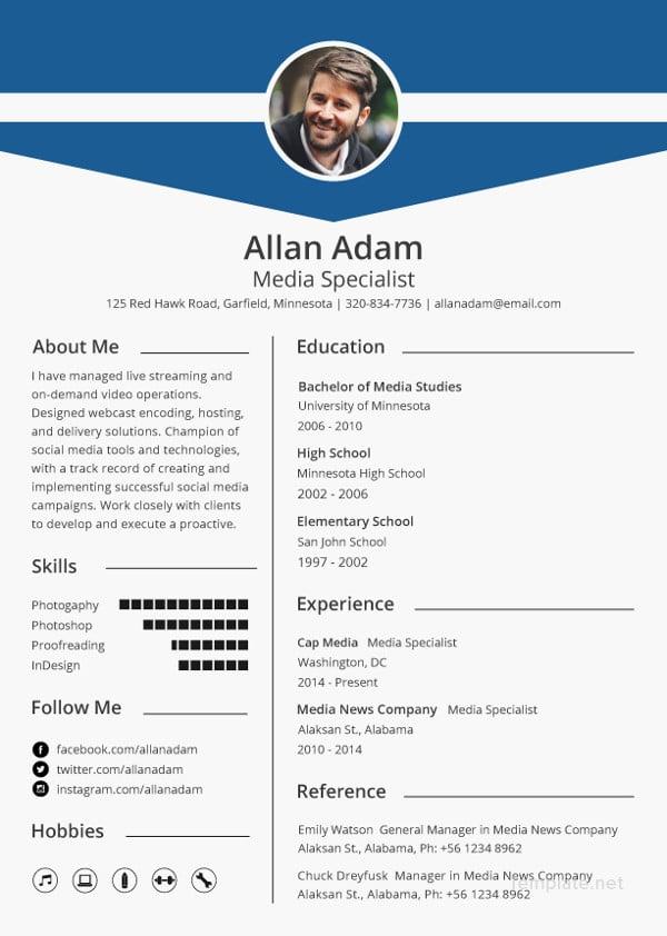 free media resume template