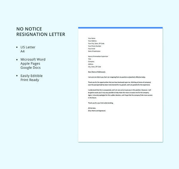 free-no-notice-resignation-letter-template