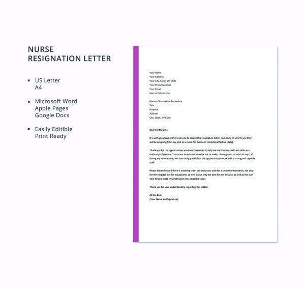 free-nurse-resignation-letter-template