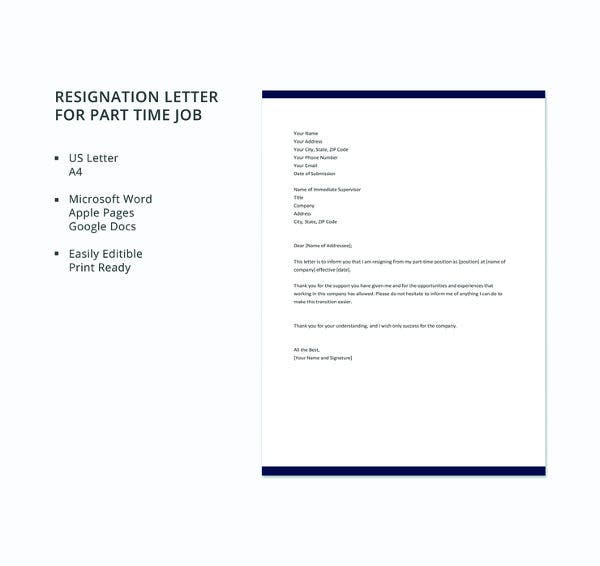 free-part-time-job-resignation-letter-template