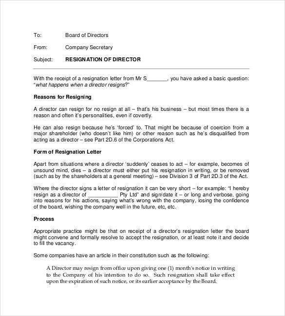free-resignation-of-director-letter-example