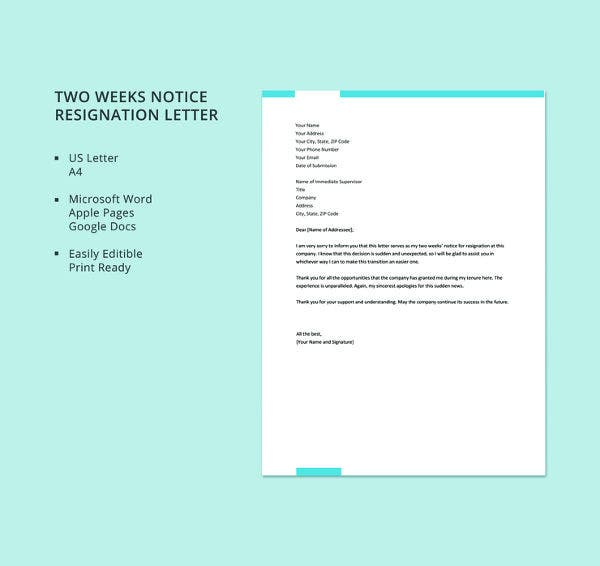 free-two-weeks-notice-resignation-letter-template