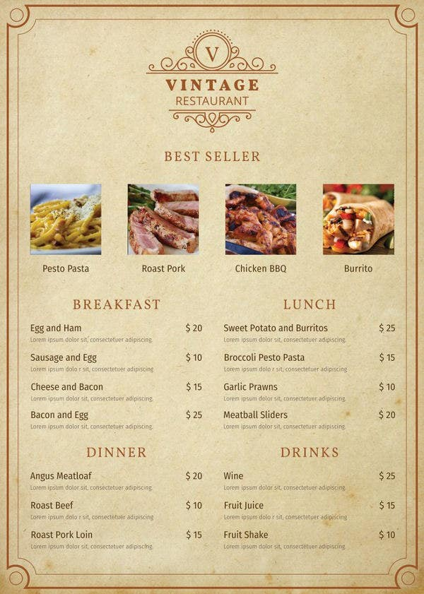 free vintage menu template