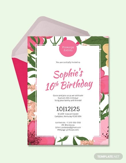 Girl 16th Birthday Party Invitation