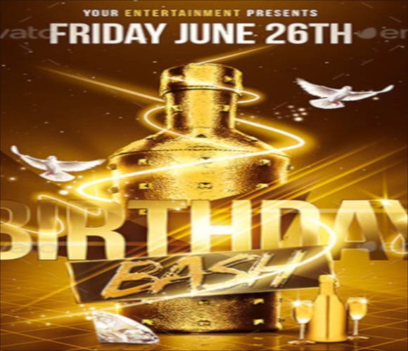 gold birthday bash psd flyer template