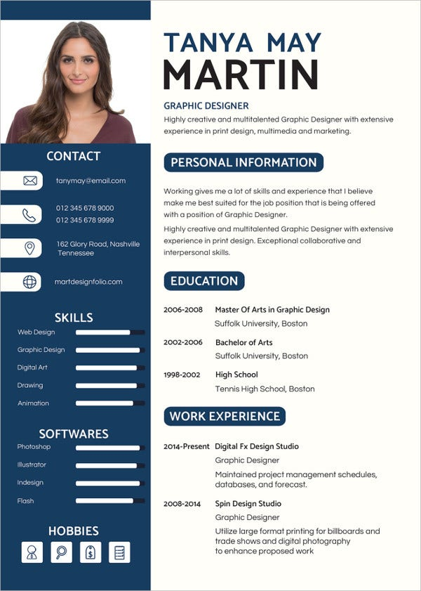 graphic designer resume illustrator template