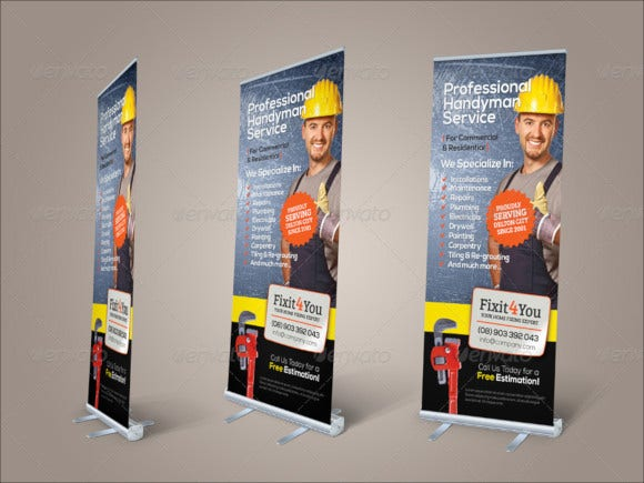 handyman services roll up banner