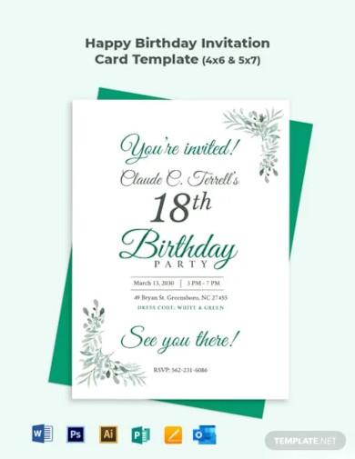 happy birthday invitation card templates