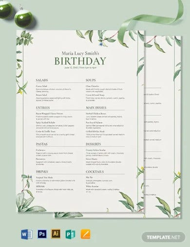 healthy birthday menu template