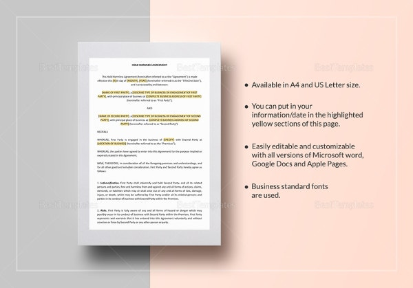 9 hold harmless agreement templates free sample example format
