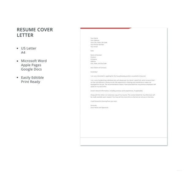 housekeeping resume cover letter template