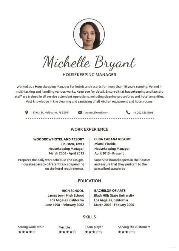 housekeeping resume template