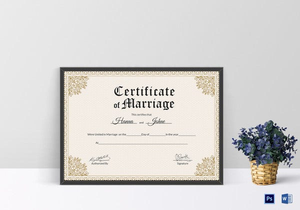 Wedding certificate template 22 free psd ai vector pdf format keepsake marriage certificate psd template yelopaper Images