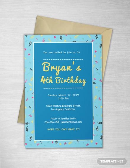 kids invitation illustrator template1