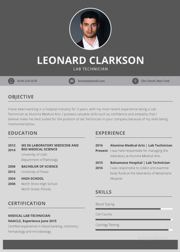 lab technician resume template to edit