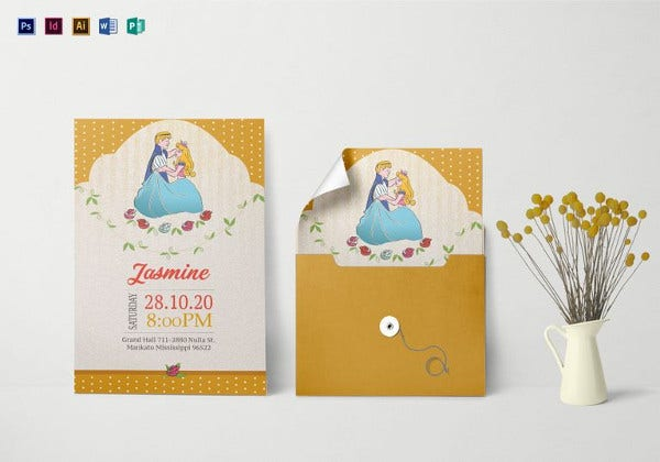 little princess birthday invitation illustrator template