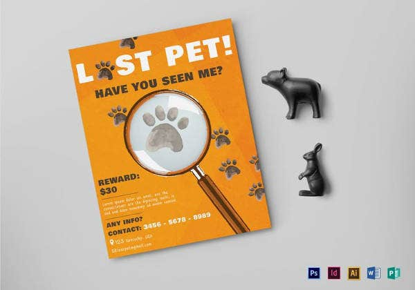 20 Lost Pet Flyers Word Psd Ai Vector Eps Free