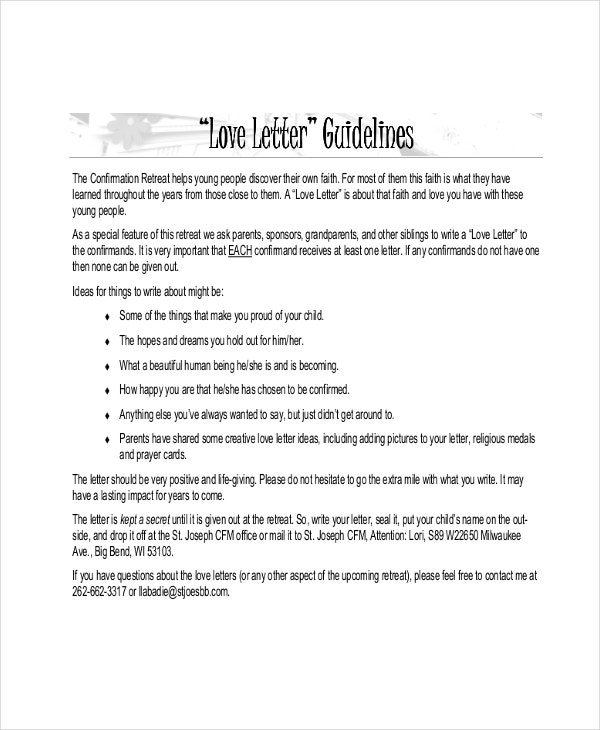 love letter guidelines