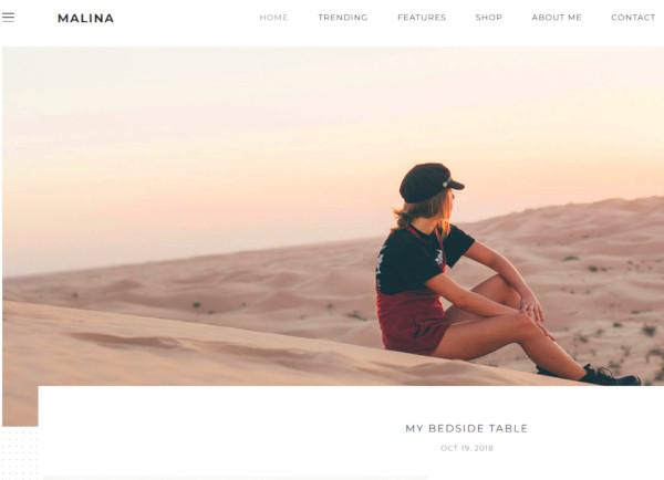 malina personal wordpress blog theme