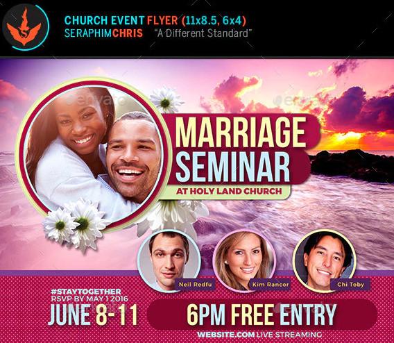 marriage seminar church flyer template