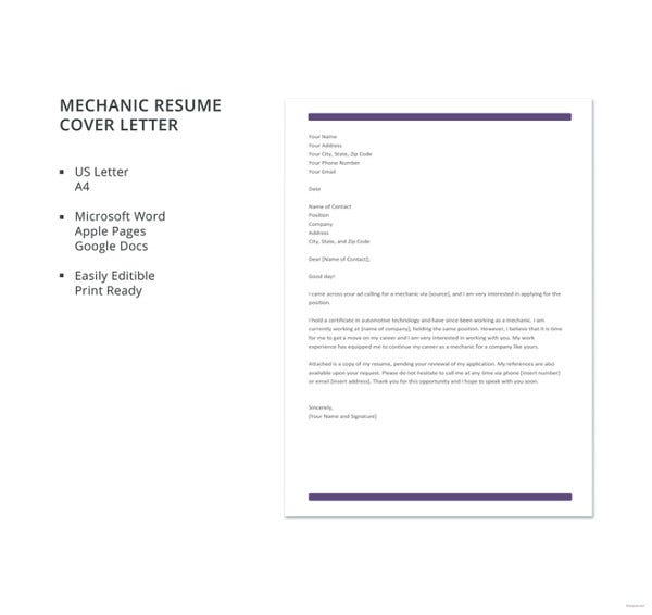 mechanic resume cover letter template