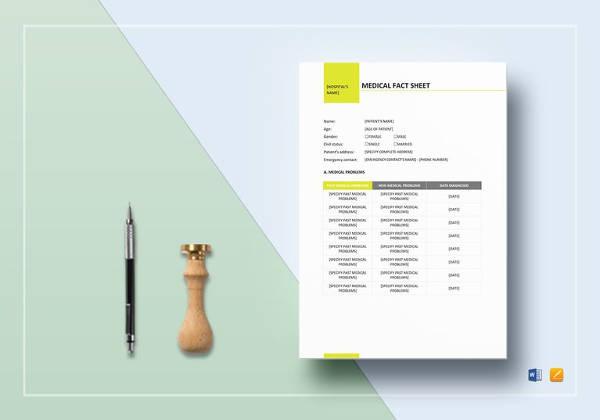 medical fact sheet template to print
