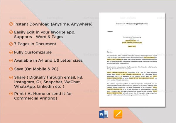 memorandum of understanding template in ipages