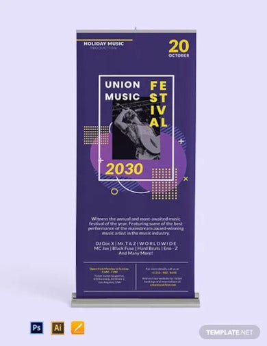 music party roll up banner template1