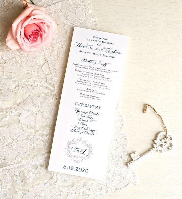 navy wedding ceremony programs classis love downlo