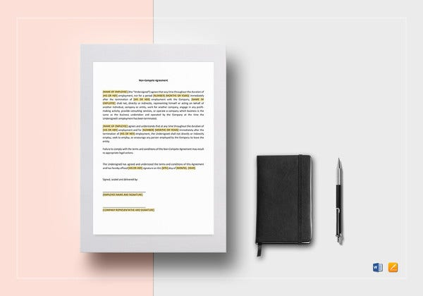 non compete agreement template in word