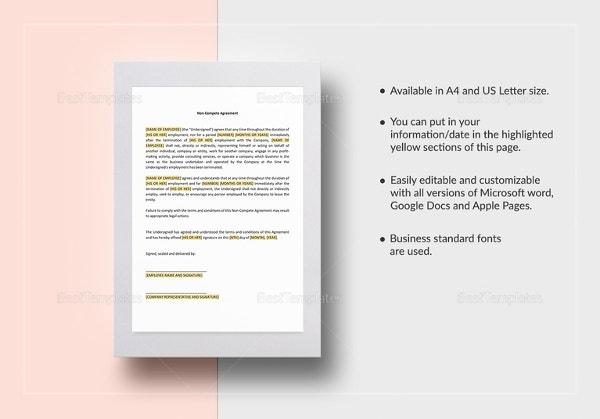 12 Non Disclosure Non Compete Agreement Templates Free Sample