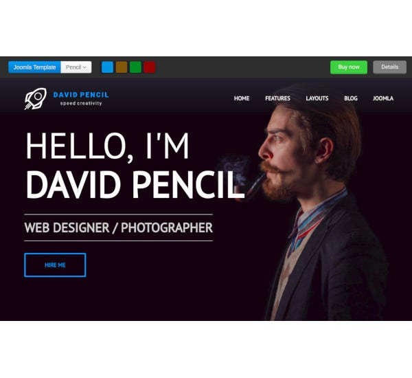 personal portfolio resume responsive joomla template