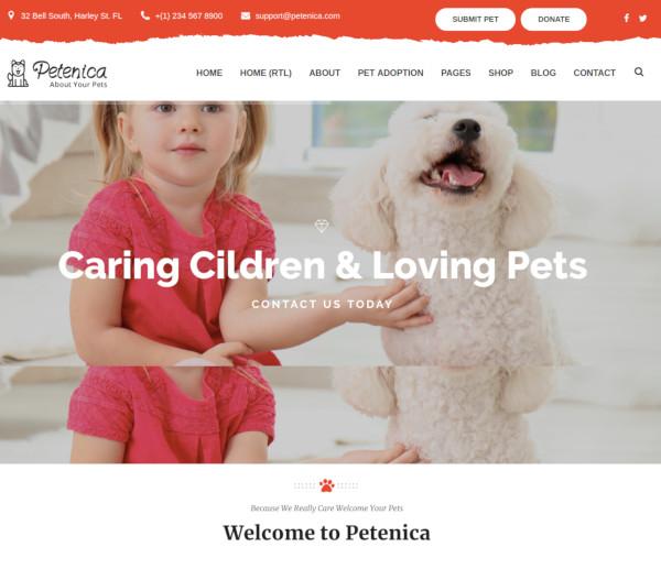 pet sitter adoption wordpress theme