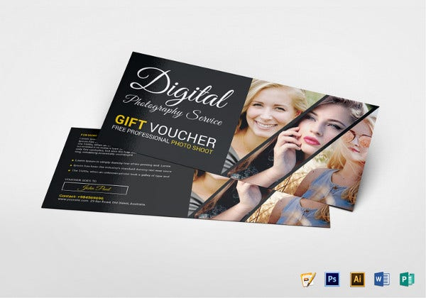 photography gift voucher template in psd