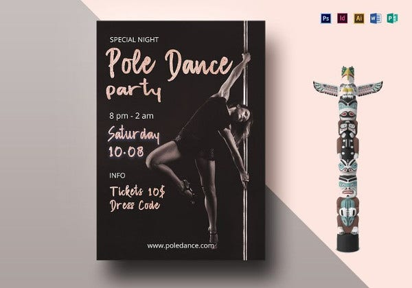 pole dance party flyer template