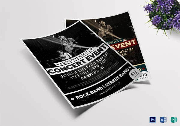 pop concert event flyer template