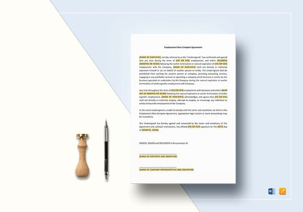 printable employee non compete agreement template