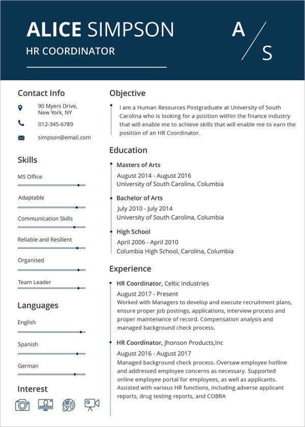 Printable Hr Resume Template Download