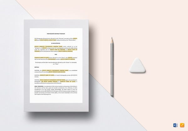 printable photography contract template