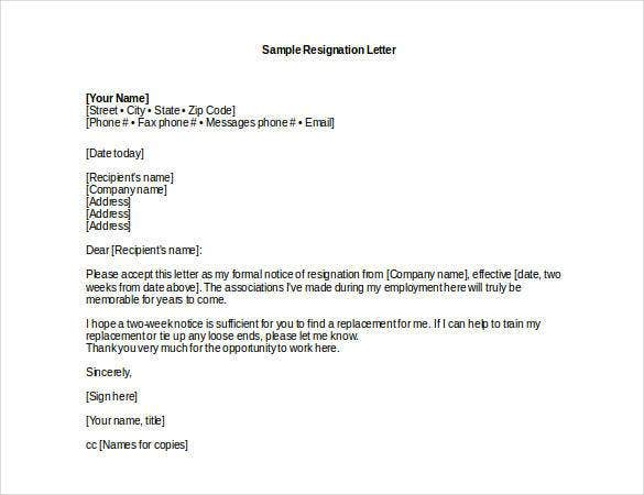 Professional Resignation Letter Sample DOC  Resignation Letters