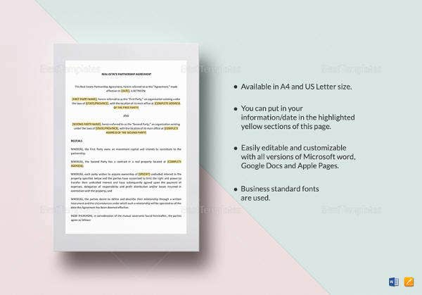 real estate partnership agreement template in pages for mac1