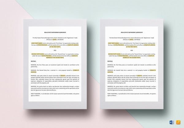 real estate partnership agreement template to print