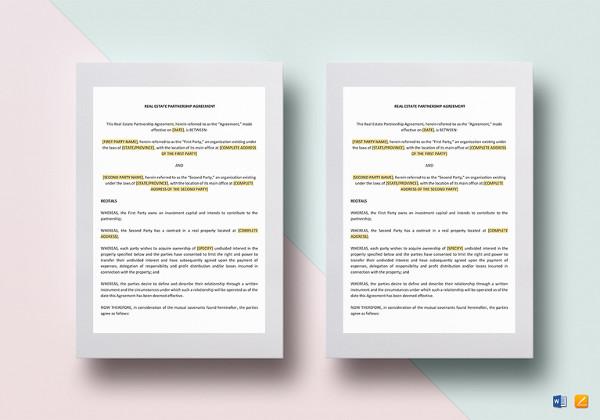 real estate partnership agreement template1