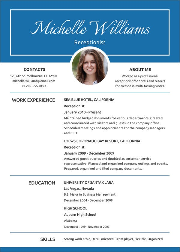 receptionist resume template in apple pages