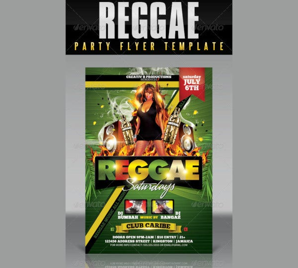 reggae party flyer template1